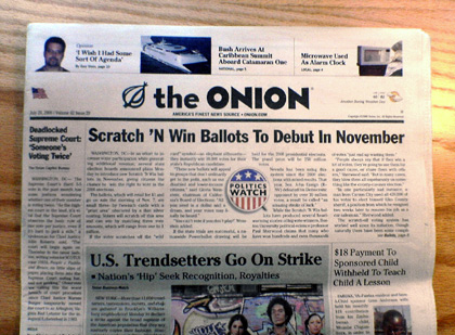 Beloved fake newspaper The Onion is the focus of tonight's Rejection Show