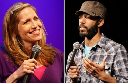 Laurie Kilmartin and Wyatt Cenac