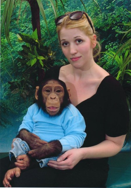 Elna Baker with chimp