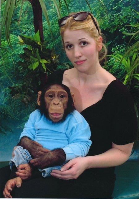 Elna Baker with chimp