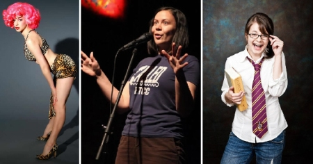NYC comedic storytellers Cyndi Freeman, Leslie Goshko, and Erin Barker