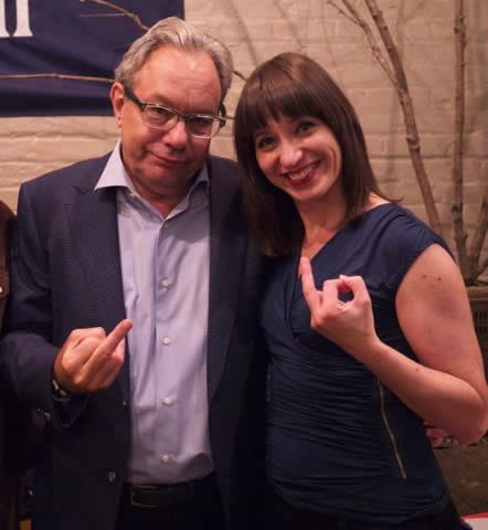 Lewis Black and Ophira Eisenberg