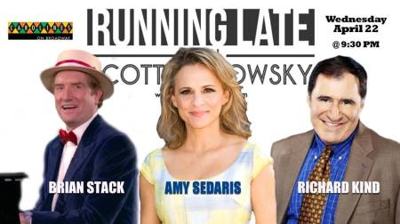 Amy Sedaris, Richard Kind, and Brian Stack at Running Late with Scott Rogowsky