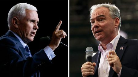 Vice Presidential candidates Senator Tim Kaine of Virginia and Governor Mike Pence of Indiana