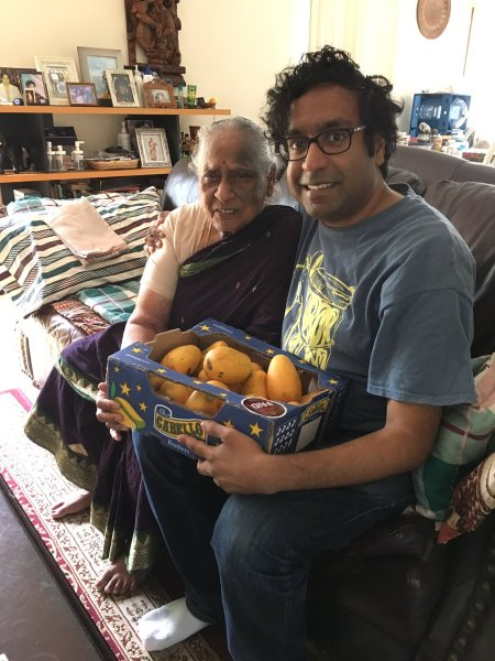"Hari Kondabolu: ""Two of my favorite things, my Grandmother & Alphonso Mangoes"""