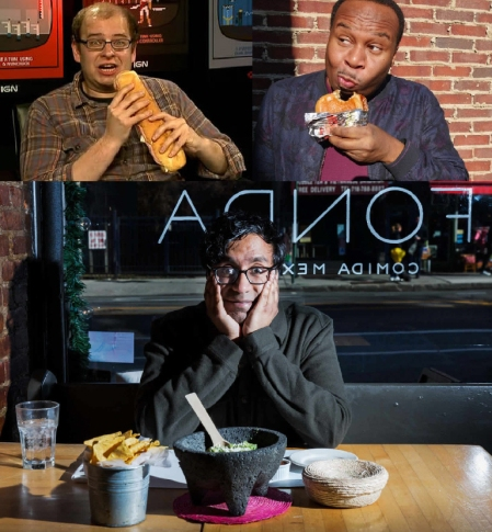 Mike Drucker, Roy Wood Jr, and Hari Kondabolu