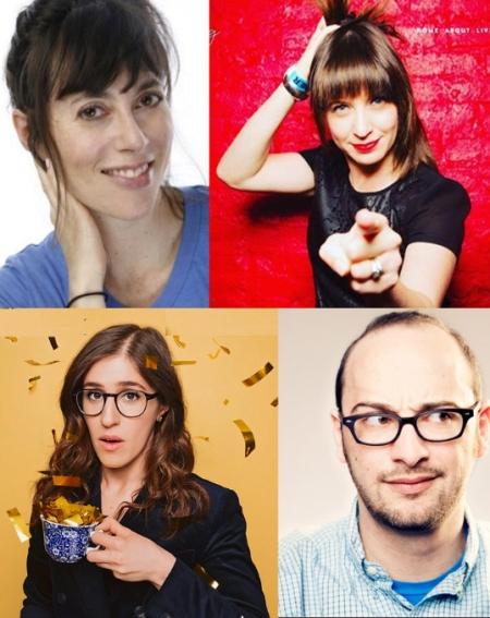 Andrea Rosen, Ophira Eisenberg, Emmy Blotnick, and Josh Gondelman