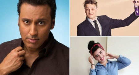 """New Material Night"" with Aasif Mandvi, Erik Bergstrom, and Kelsey Claire Hagen"