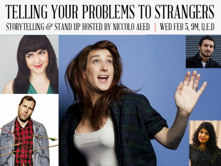 "Amanda Hunt, David Charles Ebert, Joanna Hausmann, Niccolo Aeed, and Nadia Iqbal: ""Telling Your Problems to Strangers"""